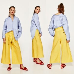 ZARA Yellow Linen Trousers with Belt